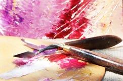 Pitture ad olio sulla tavolozza Immagine Stock
