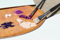 Pitture ad olio sulla tavolozza Fotografie Stock Libere da Diritti