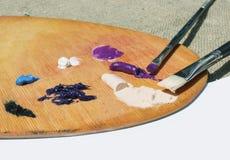 Pitture ad olio sulla tavolozza Fotografie Stock