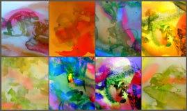 6 pitture astratte dell'acquerello Immagini Stock