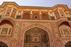 Pitture complesse sulla fortificazione dell'ambra dell'entrata di Ganesh Pol immagine stock libera da diritti