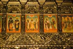 Pitture dell'icona nell'interiore del monastero Fotografie Stock Libere da Diritti