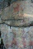 Pitture della roccia di Astuvansalmi, Finlandia Fotografia Stock