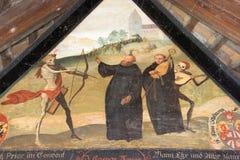 Pitture dello scheletro dell'oggetto d'antiquariato del ponte di legno di Lucerna Svizzera Fotografie Stock Libere da Diritti