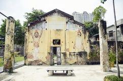 Pitture di arte e dei graffiti della via sulle pareti di architettura Fotografie Stock Libere da Diritti