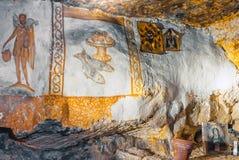Pitture di caverna ortodosse dei cristiani Fotografia Stock