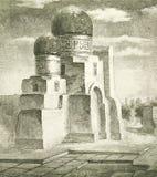 Pitture di città dell'Est anziana illustrazione di stock