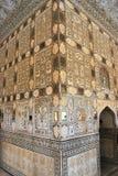 Pitture di parete ambrate del palazzo di Jaipur Fotografie Stock Libere da Diritti