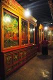 Pitture di parete nel monastero di Drepung Fotografie Stock