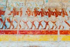 Pitture di parete in tempio di Hatshepsut nell'Egitto Fotografia Stock