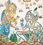 Pitture di Ramayana sul panno Immagini Stock Libere da Diritti