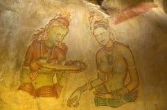 Pitture di Sigiriya - Sri Lanka Fotografia Stock