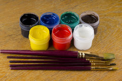 Pitture e spazzole Fotografie Stock Libere da Diritti