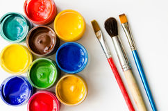 Pitture e spazzole fotografia stock