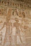 Pitture Hieroglyphic al tempiale di Medinat Habu fotografia stock libera da diritti