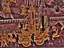 Pitture murale sulla parete esterna del palazzo Bangkok Tailandia di re Immagine Stock