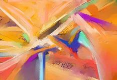 Pitture a olio di arte moderna con colore giallo e rosso Arte contemporanea per fondo illustrazione di stock