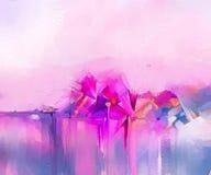 Pitture a olio di arte moderna per fondo Immagine astratta semi- dei fiori, in rosa e rosso gialli con colore blu illustrazione vettoriale