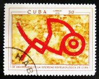 Pitture preistoriche della roccia, il ` di serie il trentesimo anniversario del ` speleologico cubano della società, circa 1970 Immagine Stock Libera da Diritti