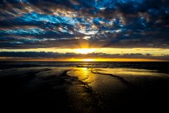 Pittwater, playa 2017 del valle de Mona de la salida del sol del verano de la serie de la playa Imagen de archivo libre de regalías