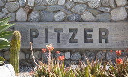 Pitzer College Sign Stock Image