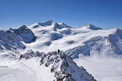 Pitztal冰川,奥地利 库存照片