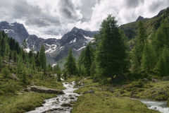 Pitztal Valley in Tirol. View from Tiefental Alm, Austria Royalty Free Stock Images