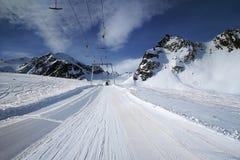 Pitztaler Gletscher, Otztaler Alpen, Tirol, Austria. Brunnenkogel ski lift under Vorderer Brunnenkogel & Mittagskogel peaks in Pitztal ski resort in Tirol Stock Images