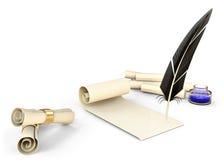 Piuma antiquata con inchiostro ed i rotoli in bianco Fotografia Stock Libera da Diritti