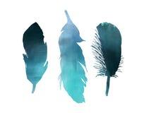 Piuma di uccello dell'acquerello di tre blu Immagini Stock Libere da Diritti