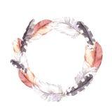 piume Confine d'annata della corona, stile di boho watercolor Fotografia Stock