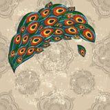 Piume del pavone sulla carta da parati senza giunte Fotografia Stock
