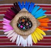 Piume dell'arcobaleno del canestro dipinte il nero delle uova di Pasqua Fotografie Stock