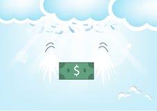Piume della Banca del dollaro dal cielo , Backgrou blu di San Valentino Immagine Stock Libera da Diritti