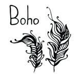 Piume disegnate a mano Illustrazione di vettore dell'inchiostro Elementi di progettazione di stile di Boho scarabocchi creativi e Immagini Stock Libere da Diritti