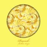 Piume giallo arancione del pavone Progettazione del cerchio Posto del testo Fotografia Stock