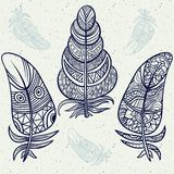 Piume tribali d'annata dello zentangle di scarabocchio Immagine Stock Libera da Diritti