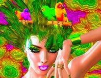 Piume variopinte, uccelli e modelli floreali con il fronte di una bella donna Immagine Stock Libera da Diritti