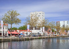 Pius港口风景,在提耳堡大学附近,荷兰的市中心的一个浩大的区域 免版税库存图片