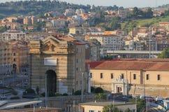 Pius bramy Porta antyczny Pia Ancona, Włochy obraz royalty free