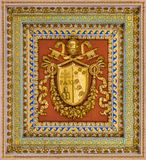 Pius VII coat of arms from the ceiling of the Basilica of Saint Paul Outside the Walls, in Rome. royalty free stock photos