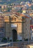 Piuss forntida portPorta Pia Ancona Italien arkivfoton