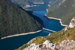 Piva kanjon med en bro i ottan Royaltyfri Foto
