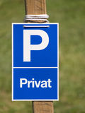Private blue parking sign Stock Image