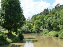 Pivka-Fluss in Postojna stockfotografie