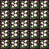 Pivoines blanches de belle offre colorée graphique lumineuse de ressort avec le modèle de bourgeons et de feuilles de vert sur l' Images stock