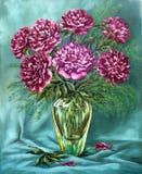 Pivoines dans un vase en verre Photos stock