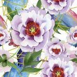 Pivoines doucement roses Modèle sans couture de fond Texture d'impression de papier peint de tissu illustration libre de droits