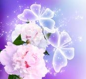 Pivoines fleur et papillons Images stock