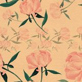 Pivoines - fleurs et feuilles Composition décorative sur un fond d'aquarelle Motifs floraux Configuration sans joint Photographie stock libre de droits
